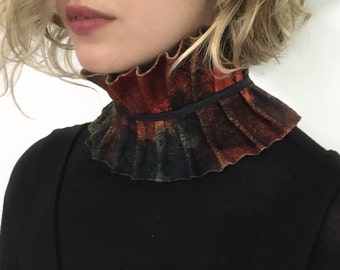 Colorful Scarf, Felted Collar, Red Felted Scarf, Red Knit Collar, Red Woll Wrap, Felt Jewlery, Ana Livni
