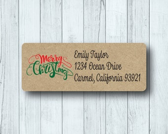 Custom Merry Christmas Address Labels - Personalized Holiday Return Mailing Labels - Red and Green - Matte White, Kraft, or Clear Gloss