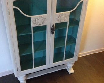 SOLD   Vintage shabby chic display cabinet Annie Sloan