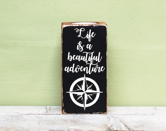Wooden Candle Holder, Rustic Candle Blocks, Life Is A Beautiful Adventure, Reclaimed Wood, Tealight Holders, Quote Candles, Adventure Candle