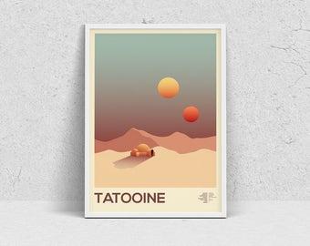 STAR WARS - TATOOINE, planet print, travel poster, movie poster, minimalist, fan art