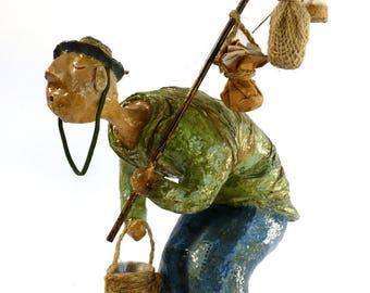 The bewildered fisherman. sculpture, Home & office décor, Gift, papermache, Art work, Unique handmade, Shelf decor,  holidays,  housewarming