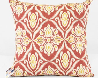 Coral Pillow Cover with Ikat Tribal Design in Natural and Yellow, Custom Sized Coral Print Pillow Covers with Invisible Zippers