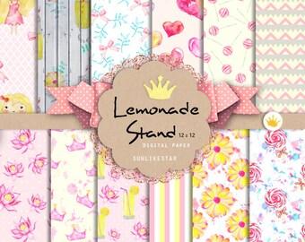Pink Lemonade Digital Paper Pack: Baby Girl Digital Scrapbook Paper, seamless pattern, pink, background, baby girl, watercolor, lemonade