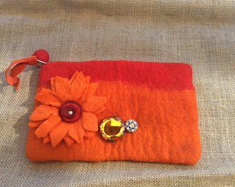 Ombre orange and red clutch made of felted wool