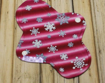 "8"" cloth pad liner/ pantyliner/ light cloth pad/ mama cloth/ cloth pads/ cloth menstrual pad/ pink snowflake/ Made by Mother"
