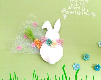 Easter Bunny Bow Hair Clip, spring bow, bunny ears bow, glitter spring hair clip