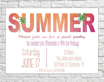Printable Pool Party Birthday Invitation, Summer Party, Pool Party Invitation, Kid's Birthday Invite, Summer Party Invite, Beach Party