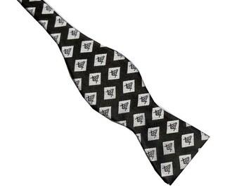 Masonic Black Gray Compass Diamond 2.5 Silk Self-tie Bow Tie M5