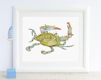 Crab Art Print Blue Crab Watercolor Painting Ocean Print Sea Animal Art Beach Nursery Bathroom Wall Decor Nautical Decor Marine Coastal Art