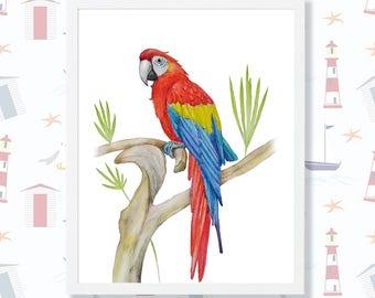 Ara Watercolor Painting Parrot Macaw Bird Art Colourful Wall Art Tropical Decor Jungle Animal Print Nursery Printable Ara Digital Download