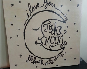 I Love You To The Moon and Back Wood Sign Distressed Rustic Extra Large Wood Sign Primitive Anniversary Valentines Day Gift Nursery Decor