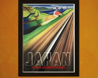 FINE ART REPRODUCTION Japan Travel Print - Vintage Travel Poster Travel Wall Art Japan Poster Travel Decor Birthday Gift Idea