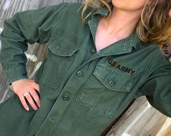 Army Canvas Button Up