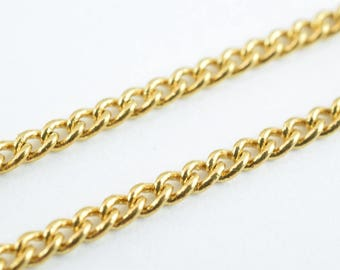 """Gold Filled Curb Chain 18KT Gold Filled Size 17"""" Long 2mm Width 1mm Thickness  Item #CG114"""