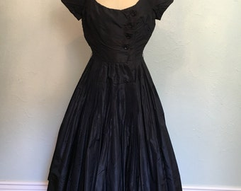 Late 40's/early 50's vintage black dress / NEW LOOK COUTURE vintage dress / black vintage dress attributed to Dior