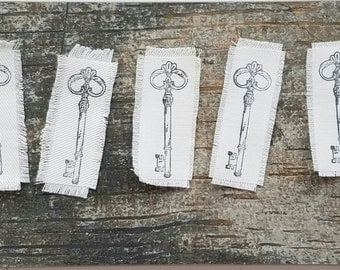 Stamped Fabric- Skeleton Key