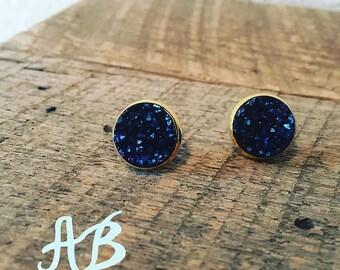 Druzy Earrings- Navy Blue