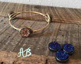 Druzy Gold or Royal Blue Stone Bangles