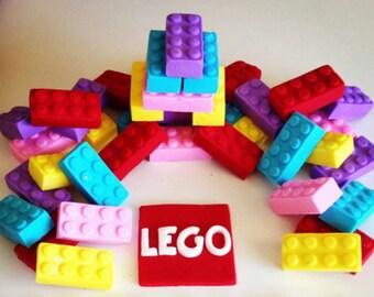 Edible Fondant Lego cake or cupcake toppers