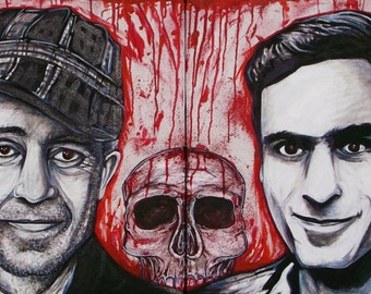 Ed and Ted. Ed gein and ted bundy portraits / double canvas paintings
