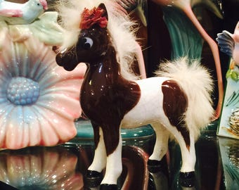 Anthropomorphic Paint Pinto Horse Figurine with Fur Mane and Tail made in Japan circa 1950s