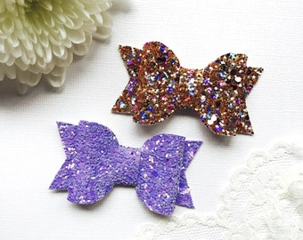 Set of 2 Glitteratzi Glitter Hair Bows, girls bows, toddler bows, baby bows, hair bow headband, clip bows, bow clips, hair bow clip