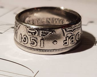 Coin Ring Half Crown  - Hand Crafted 1951- Size U 1/2