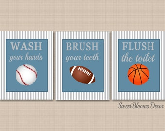 Sports Bathroom Decor,Kids Sports Bathroom Wall Art,Soccer Football Baseball Basketball Bathroom,Boy Sports Bathroom Decor-UNFRAMED  3 B132