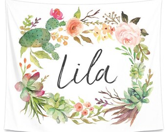 Cactus Floral Wreath Personalized Wall Tapestry | Nursery Wall Art | Watercolor Wall Art