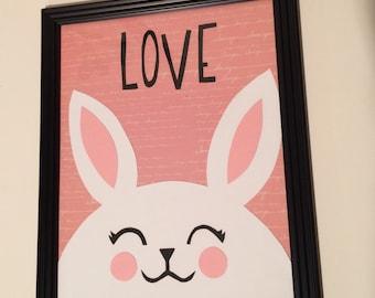 Happy Rabbit For Nursery Decor