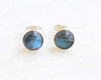 Labradorite Stud Earrings ...4 mm, 5 mm, 6mm Labradorite Studs .. Labradorite Earrings .. Handmade Jewelry