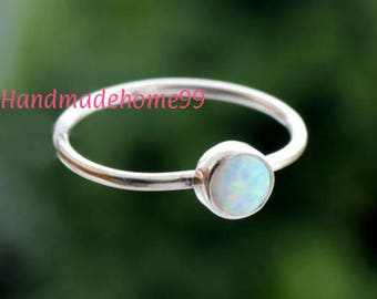 Opal Ring, White Opal Ring, Synthetic Opal, 925 Sterling Silver, Sterling Ring, Silver Ring, Opal Ring, White Stone Ring,