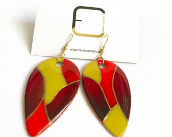 earrings handpainted on wood red yellow and gold, dangle earring unique gift for her mother's day anniversary birthday