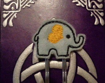 Elephant - Yellow - Jumbo Clip - PaperClip - Felt Planner Clip - Planner Accessory - Stationery - Cute Paper Clip - Bookmark - Planner Clip