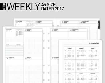 50% off Printable 2017 Weekly Planner Insert   Filofax A5 size Wo2p Dated 2017, 12mth   2017 Weekly  Scheduler/2017 Weekly Calendar  