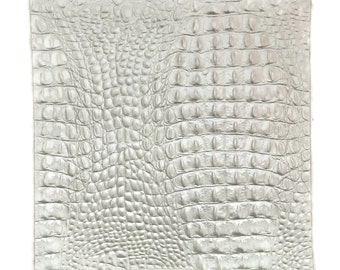 """Silver Alligator Embossed Leather / Silver Croco Embossed Leather / Silver Leather / Metallic Leather / 12.5"""" x 12.5"""" OR 12.5"""" x 24"""""""