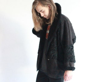 Vintage 80's Luxurious High Quality Black Shearling / Sheepskin Coat