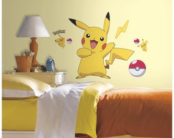 Pokemon bedroom/birthday stick and peel wall decal decor
