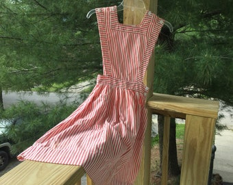 Small Candy Striper Uniform, Vintage Size 6 Striped Jumper