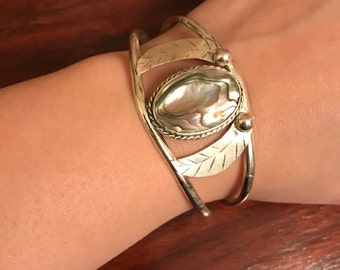 Vintage silver plated Mexican Abalone half bracelet