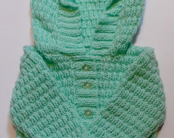 Lime green hooded baby cardigan