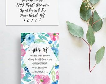 floral watercolor invitations // bridal shower or party invites // pink blue watercolor flowers // calligraphy // PRINTED invites // custom
