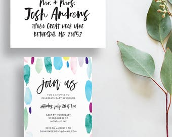 watercolor strokes baby shower invites // handpainted // colorful summer party invites // paint strokes // hand lettered // printed invites
