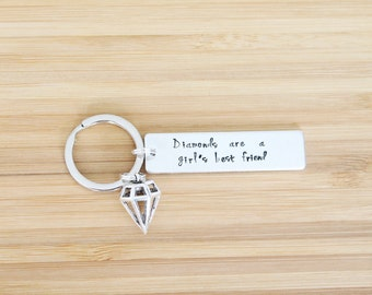 hand stamped keychain | diamond's are a girl's best friend