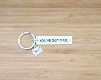 hand stamped keychain   you've got mail