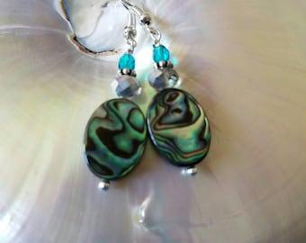 Paua abalone and crystal drop earrings