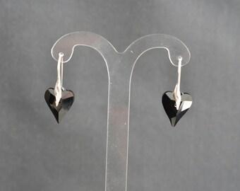 Earrings 925 silver and jet black wild heart