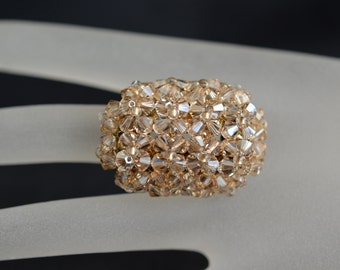"Swarovski crystal ring ""Grandiosa"" crystal golden shadow"