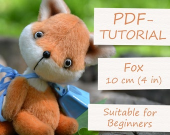 "Miniature Teddy Fox Pattern. Teddy Pattern. Teddy bear fox. Soft toy pattern. Teddy tutorial. Teddy bear tutorial (4""/10cm)"